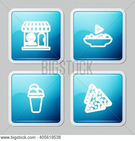 Set Line Pizzeria Building Facade, Nachos Plate, Ice Cream And Icon. Vector