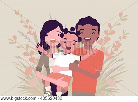 Multicultural Happy Family, Parents And Kid Of Different Race, Culture. Father, Mother And Daughter