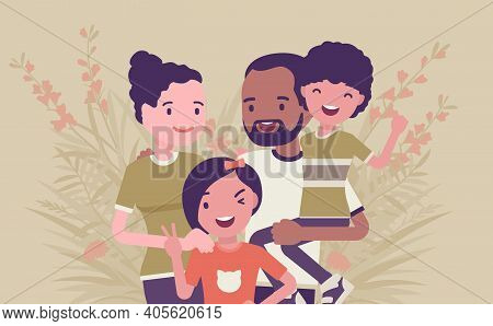 Multicultural Happy Family, Parents And Kids Of Different Race, Culture. Father, Mother, Son, Daught
