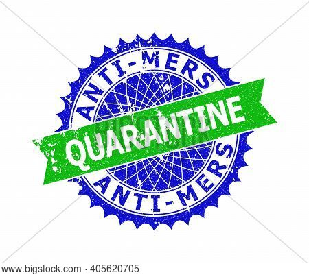 Vector Anti-mers Quarantine Bicolor Stamp With Unclean Texture. Blue And Green Colors. Flat Seal Sta