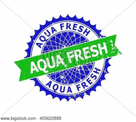 Vector Aqua Fresh Bicolor Stamp Seal With Unclean Style. Blue And Green Colors. Flat Seal Imprint Wi