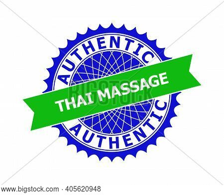 Vector Authentic Thai Massage Bicolor Template For Watermarks With Clean Surface. Flat Clean Seal St