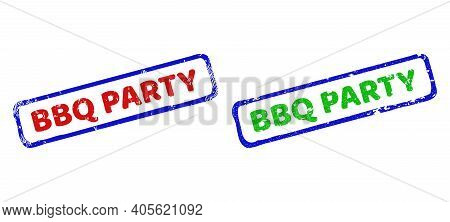 Vector Bbq Party Framed Watermarks With Corroded Texture. Rough Bicolor Rectangle Seals. Red, Blue,