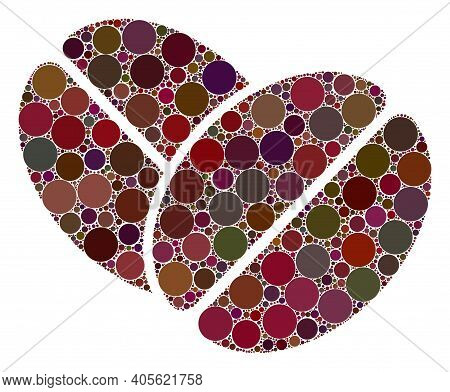 Cacao Beans Raster Mosaic Of Round Dots In Different Sizes And Color Shades. Circle Dots Are United
