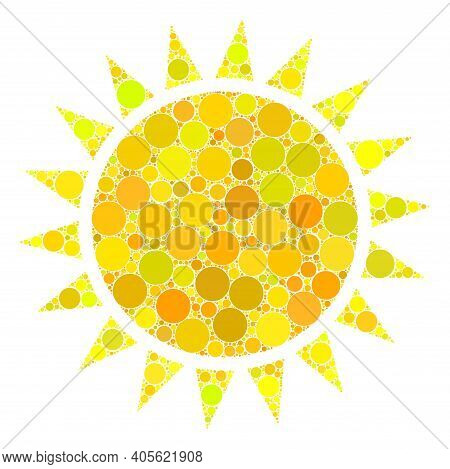 Sun Raster Composition Of Round Dots In Variable Sizes And Color Tinges. Round Dots Are Organized In