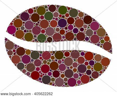Coffee Bean Raster Collage Of Circle Dots In Variable Sizes And Color Shades. Circle Dots Are United