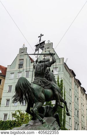 Berlin, Germany - July 30, 2019: St. George And The Dragon Statue In Central Berlin