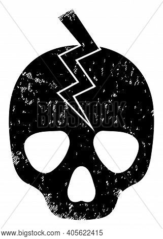Death Strike Icon With Scratched Effect. Isolated Raster Death Strike Icon Image With Scratched Rubb