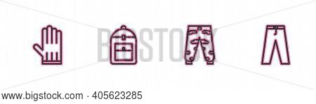 Set Line Leather Glove, Camouflage Cargo Pants, Backpack And Pants Icon. Vector