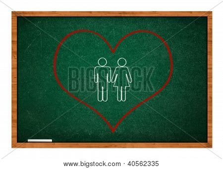 Heart On Green Chalkboard