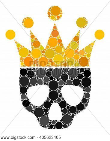 Dead King Raster Collage Of Round Dots In Different Sizes And Color Tinges. Round Dots Are Composed