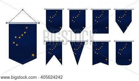3d Realistic Pennants Hanging Flags Of The Alaska. Vertical Template Design Set National Flags Of Co