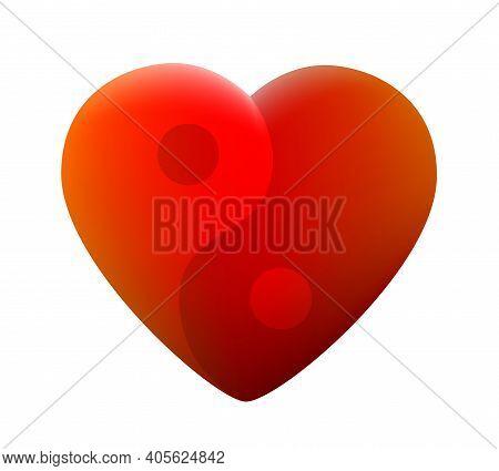Heart With Yin Yang Symbol. Symbolic For Love, Health, Balance, Harmony, Spirituality, Peace And Ser