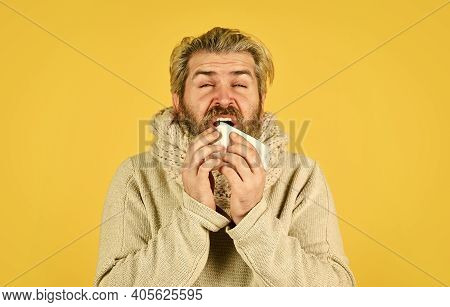 Coronavirus From China. Immunity Against Epidemic. Hipster Sneezing And Blow Out Nose. Allergy React