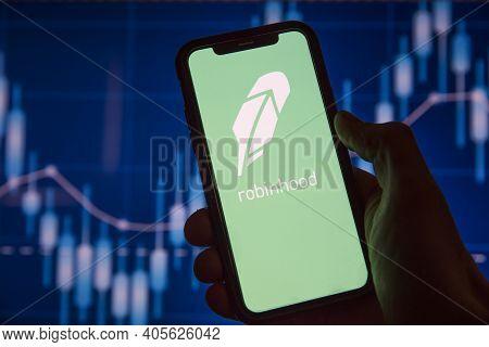London, Uk - January 2021: Robinhood Financial Investing App On A Mobile Device