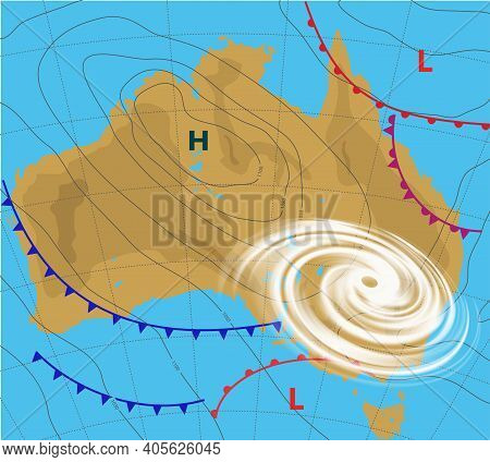 Weather Map Of The Australia. Meteorological Forecast With Hurricane, Wind Cyclone, Storm. Editable