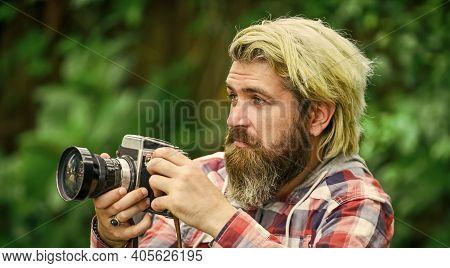 Enjoying Summer. Journalist Is My Career. Reporter Make Photo. Vintage Camera. Capture These Memorie