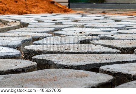 Homemade Concrete Interlock Blocks Pathway Pattern, Diy Project Low Angle Photo Close Up, Random Des