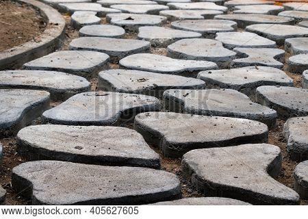 Homemade Concrete Interlock Blocks Pathway Pattern, Diy Project Photo Close Up, Random Designs On Th
