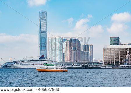 View Of Hong Kong Harbour By Kowloon At Day Time.