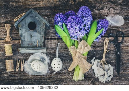 Blue Hyacinth Flowers And Easter Set Up, Toned