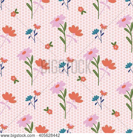 Daisy Bouquets On Polka Dot Background Seamless Pattern