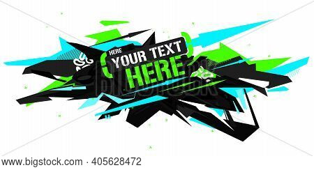 Cyberpunk Black And Neon Abstract Graffiti Style Banner Vector