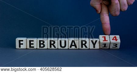 February 14 Valentines Day Symbol. Hand Turns Cubes And Changes The Word 'february 13' To 'february