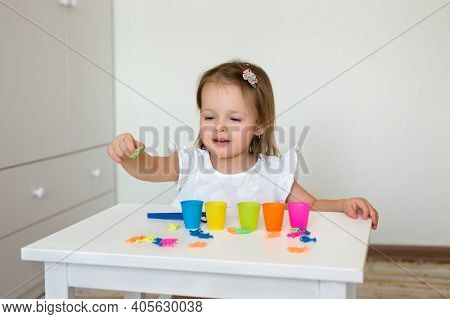 The Child Learns Colors. A Little Girl Sorts The Animal Figures By Color, Throwing Them Into The App