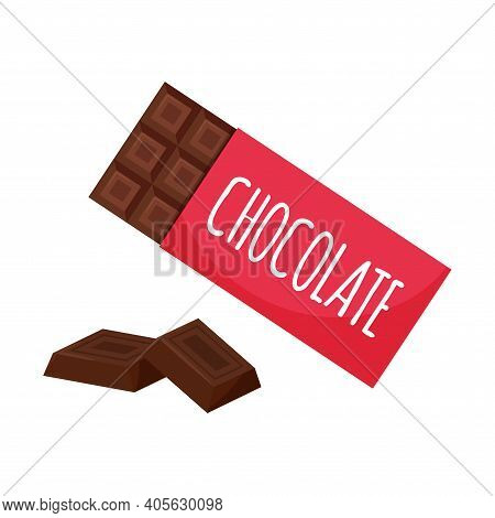 Chocolate In The Package And Squares, Pieces Of Chocolate. Sweet, Unhealthy Food. Sweets, Dessert, T
