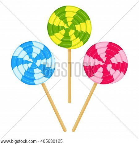 Green And Yellow Spiral Lollipop. Sweet Candy, High-calorie, Unhealthy Food, Dessert, Treat. Color V