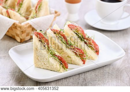 Wheat Toast Sandwich With Cream Cheese With Microgreen Alfalfa Sprouts And Salami. Healthy And Fresh