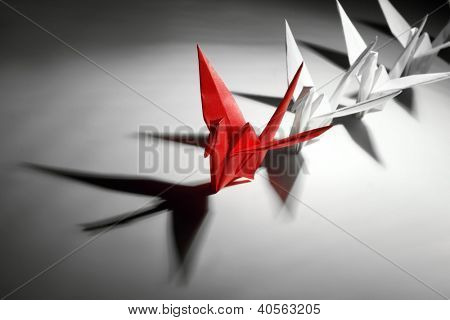 Origami,paper crane,teamwork concept.