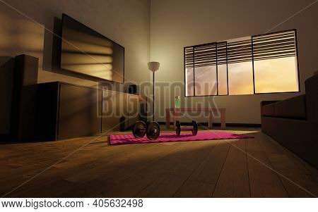 Small Improvised Gym In The Living Room Of A House With Pink Mat, Dumbbells, Green Water Bottle And