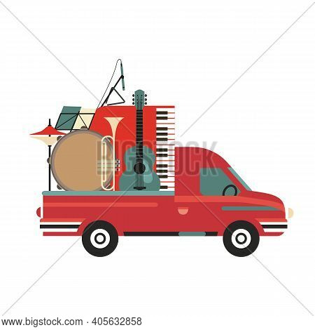 Musical Instruments On Pickup Truck Vintage Vector Icon. Live Music Jazz Festival Cartoon Minimal St