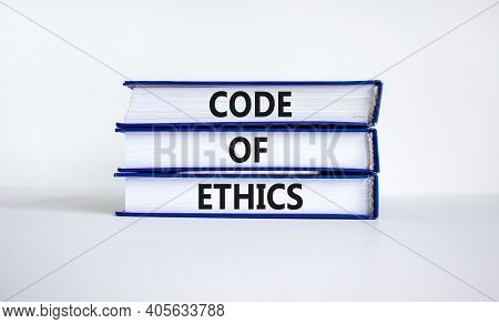 Code Of Ethics Symbol. Books With Words 'code Of Ethics' On Beautiful White Table, White Background.