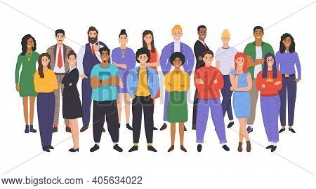 Multicultural Group Of People. People Of Different Races And Cultures. Cartoon Characters Set In Fla
