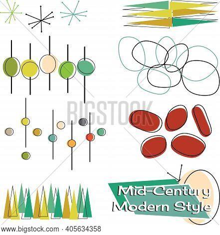 A Set Of Mid Century Modern Style Design Element Vectors