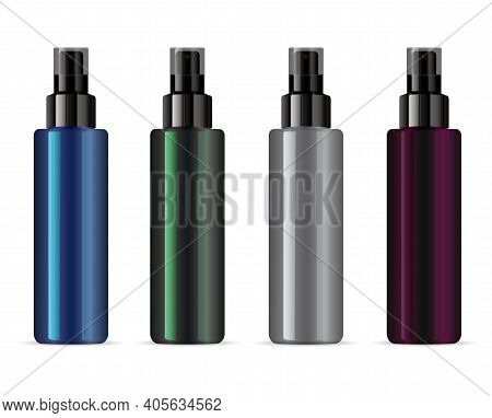 Cosmetic Spray Bottle Mockup, Clear Vector Packaging With Pump Dispenser Cap. Atomizer Dispenser Cyl