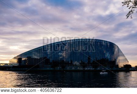 Strasbourg, France - Oct 6, 2018: Wide Angle View From The Water Canal Of The Headquarter Of Europea