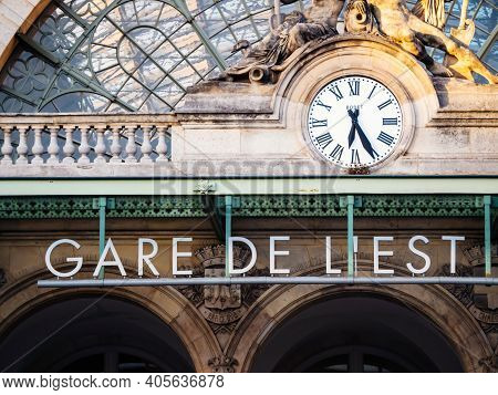 Paris, France - Oct 13, 2018: Parisian Morning With Gare De Lest Signage And Boded Clock On The Icon