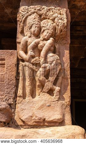 Aihole, Karnataka, India - November 7, 2013: Lad Khan Temple. Closeup Of Brown Stone Statue Of Coupl