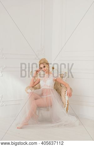 Morning Of A Beautiful Young Bride In A Boudoir Dress.
