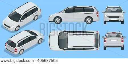 Minivan Car Vector Template On Background. Compact Crossover, Suv, 5-door Minivan Car. View Isometri