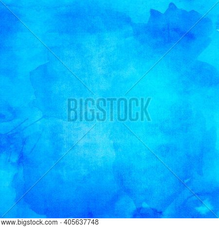 Abstract Blue Stained Paper Texture Background Or Backdrop, Watercolor. Empty Cyan Blue Paperboard O