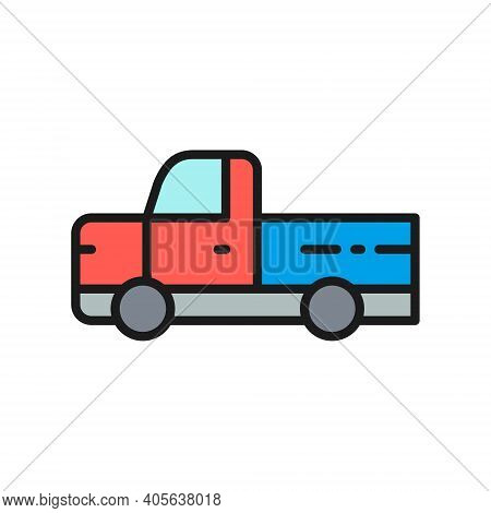 Pickup Truck, Pick-up Car, Vehicle Flat Color Line Icon.