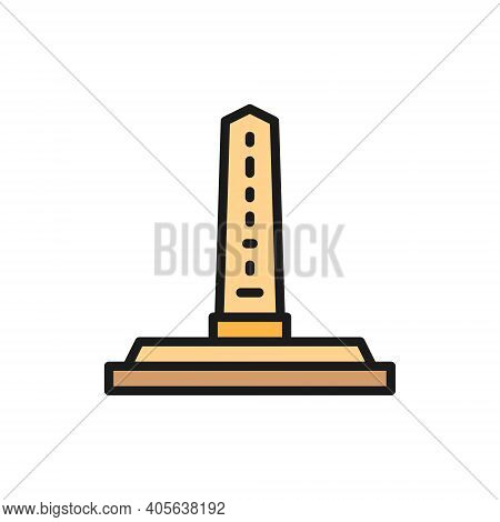 Egyptian Obelisks, Ancient Column Color Line Icon. Isolated On White Background