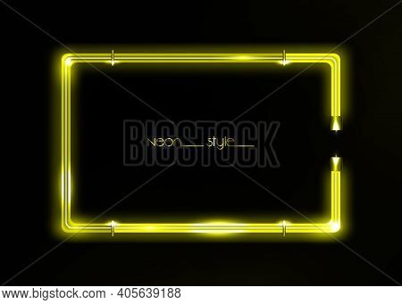 Neon Frame Background, Yellow Color. Colorful Neon Shiny Glowing Vintage Frame Isolated Or Black Bac