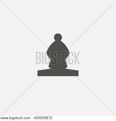 Bishop Chess Piece Icon. Chess Bishop Isolated Vector Icon.