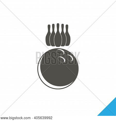 Bowling Cones With Bowling Ball Isolated Vector Icon. Bowling Pins Design Element
